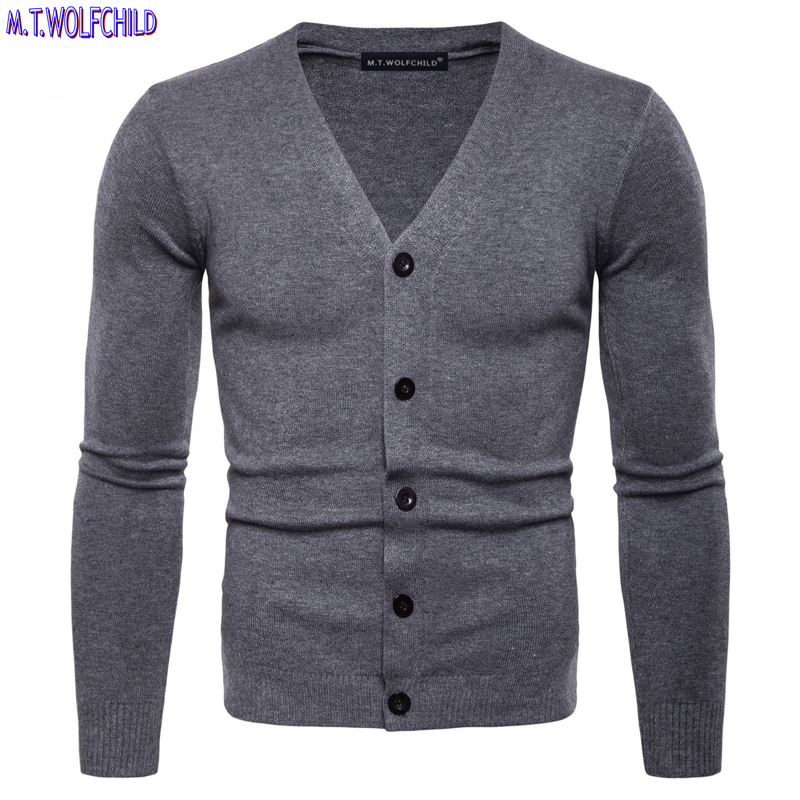 Mens sweaters 2018 Autumn New mens v-neck long sleeve knitted sweaters casual mens solid color knitting cardigan sweaters