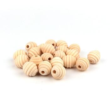TYRY.HU BPA Free 5Pcs Round Wood Teether Bead Baby Teething Nursing Wood Teether Bead  For DIY Pacifier Clips Natural Wood Toys 1