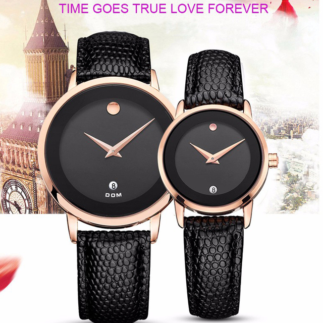DOM Men Watch New Women Dress Couple Lovers Watches Men Luxury Brand Fashion& Casual Lover Leather strap