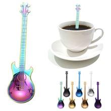 Кофейная ложка из нержавеющей стали 12 см, многоцветная, легко чистится, гитарные ложки, радужная кофейная ложка, столовые приборы, инструменты для горячего питья F123