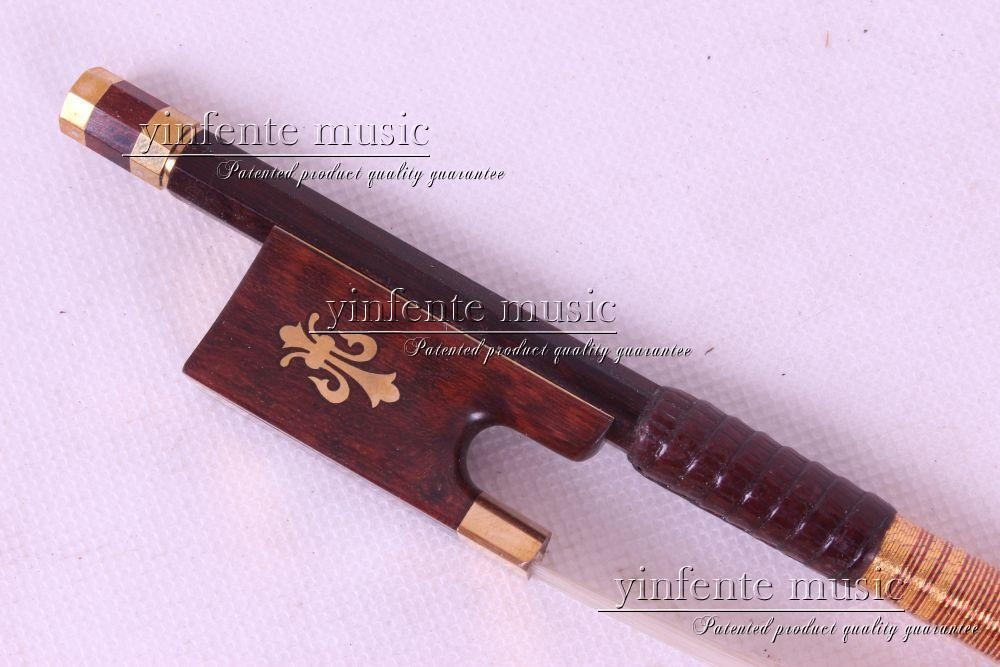 Violin Bow 4/4 Snake Wood  Straight Pretty inlay fr og  High Quality #11 dot inlay  flower  white horse hair handmade new solid maple wood brown acoustic violin violino 4 4 electric violin case bow included