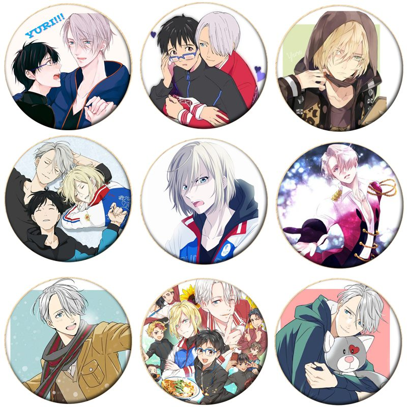 1pcs Hot Anime YURI!!! On ICE Cosplay Badge Cartoon Yuri Brooch Pins Collection Victor Bags Badges For Backpacks Button Clothes