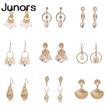 vintage Sea pearl Shell Earrings For Women Gold Metal Summer Boho Jewelry Handmade Statement 2019 Beach