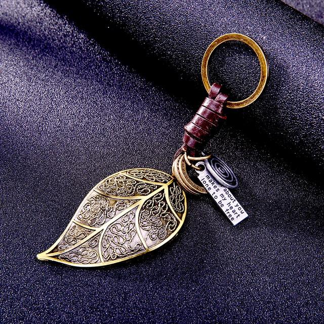 Ottone del pendente del foglio per la chiave portachiavi In Pelle portachiavi an