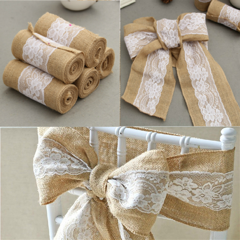 Diy Burlap Wedding Ideas: Natural Burlap Hessian Lace Chair Back Cover Decor Bow