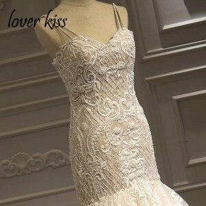 Image 2 - Роскошное кружевное свадебное платье Русалка Lover Kiss Vestido De Noiva 2020, церемониальный наряд с бусинами и жемчужинами, Африканское свадебное платье, корсет