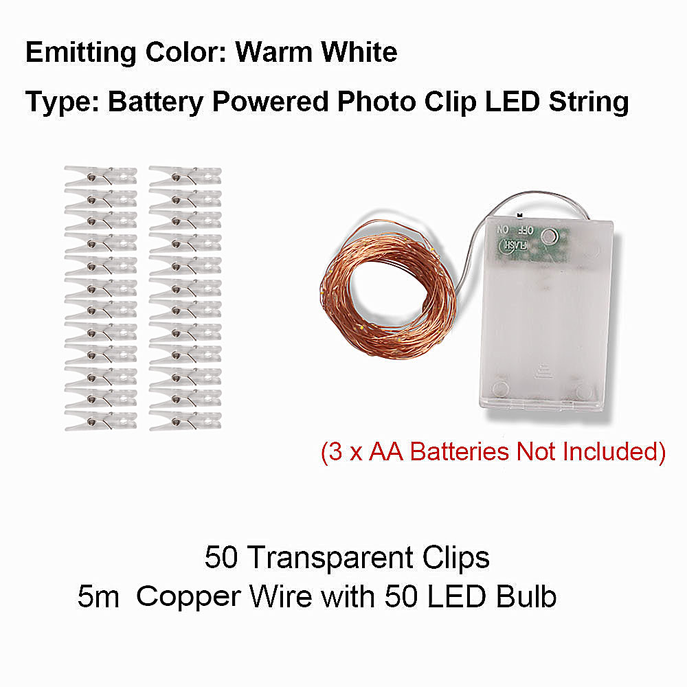 Photo Clip USB LED String Lights Fairy Lights Outdoor Battery Operated Garland Christmas Decoration Party Wedding Xmas