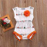 Newborn Ifrant  Baby Girl Floral Arrows Fold Romper Jumpsuit Summer Sunsuit Outfit Clothes 0-24M