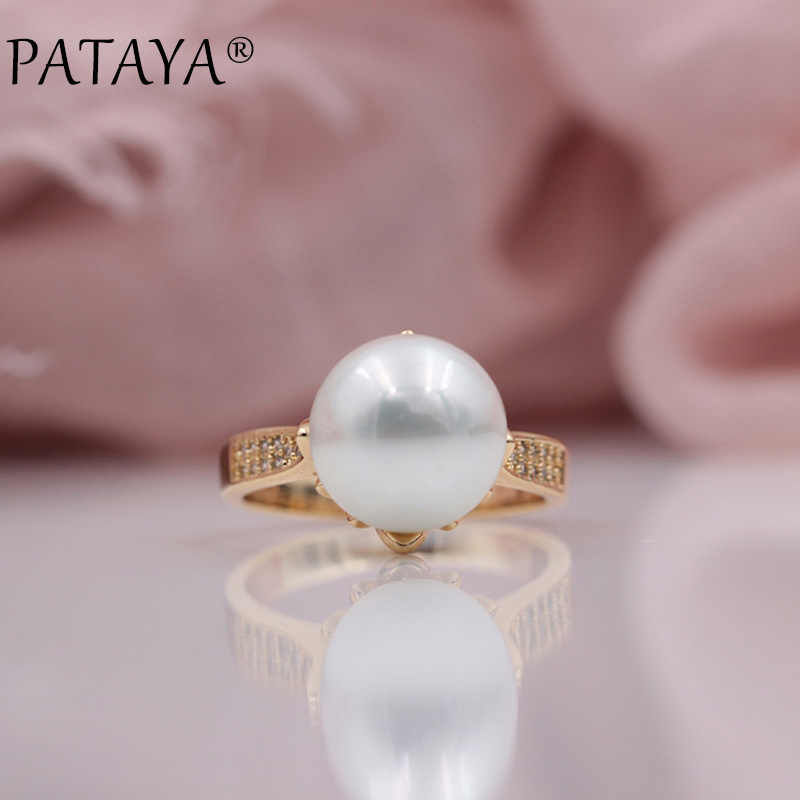PATAYA New Trendy Micro-wax Inlay Natural Zircon Sea Shell Pearls Rings 585 Rose Gold Women Wedding Party Luxury Fine Jewelry