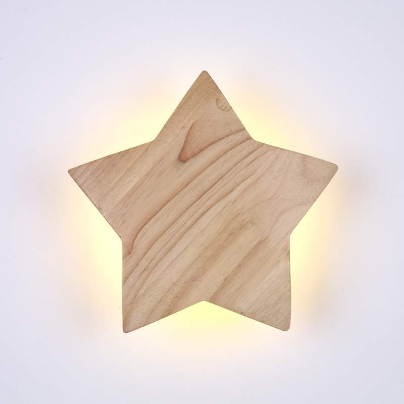 Nordic modern 9W/15W Wood Classic Wall Lamp Creative Pentagram Style LED Light for Bedside Corridor Interior decoration