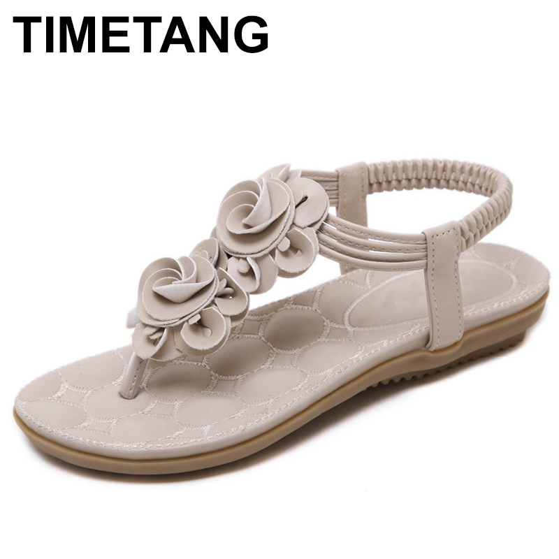 TIMETANG  Women Casual Shoes Flower Comfortable Sandals Flat Heel Summer Woman Bohemian Thong Sandals Flip Flops Plus timetang bohemia summer casual women wedges flat sandals platform 2018 woman ladies beach shoes flip flops genuine leather c192