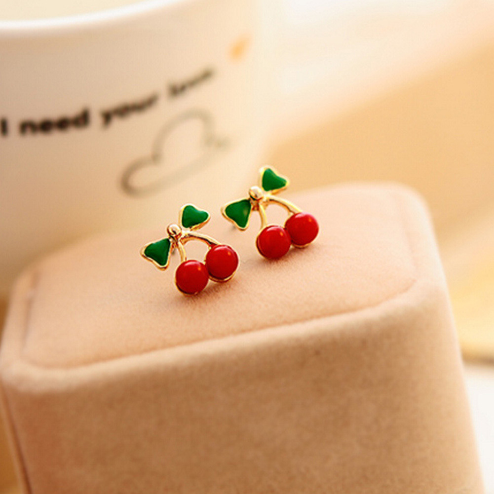 New style Jewelery Wholesale Fashion Retro Red Korean Style Metal Cherry Stud Earrings for women