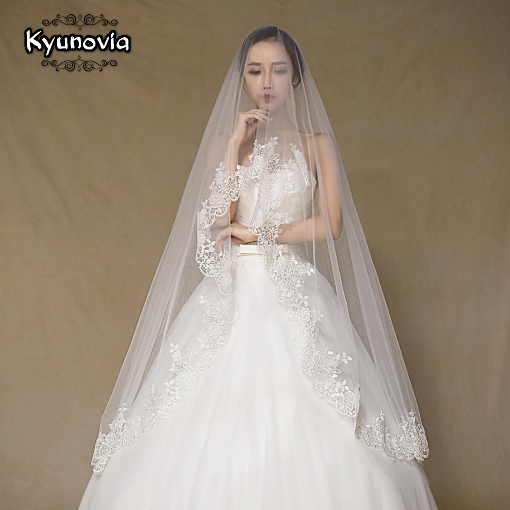 Kyunovia Wedding Veil Lace Cathedral Wedding Accessories Without Comb Bridal Veil Long Voile 300CM  Lvory Wedding Veil D23