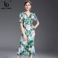 2017 Runway Designer Summer Dress Women S Sexy V Neck Floral Printed Sheath Bodycon Sexy Mermaid