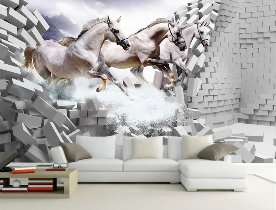 Customize 3d wallpaper brick wall white horse gallop wall for 3d wallpaper for living room in dubai