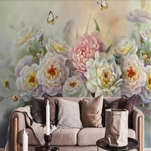 European-style hand-painted beautiful rose flower butterfly TV sofa background wall