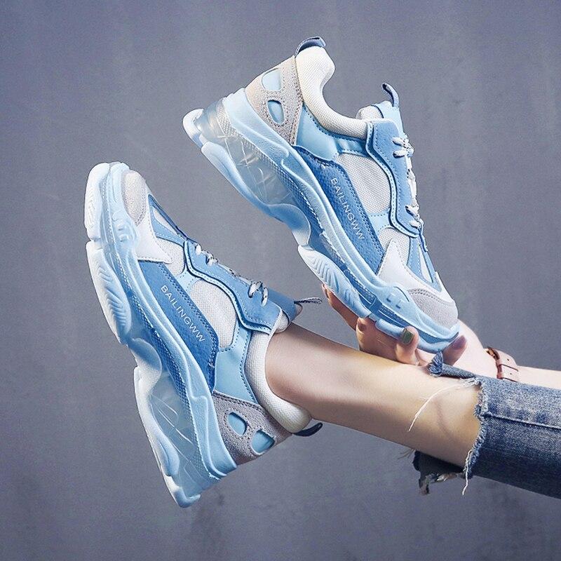 Blue Sneakers Women Transparent Vulcanize Shoes Fashion Brand Dames Sneakers Chunky Sneakers Platform Women Sneakers Shoes 2019