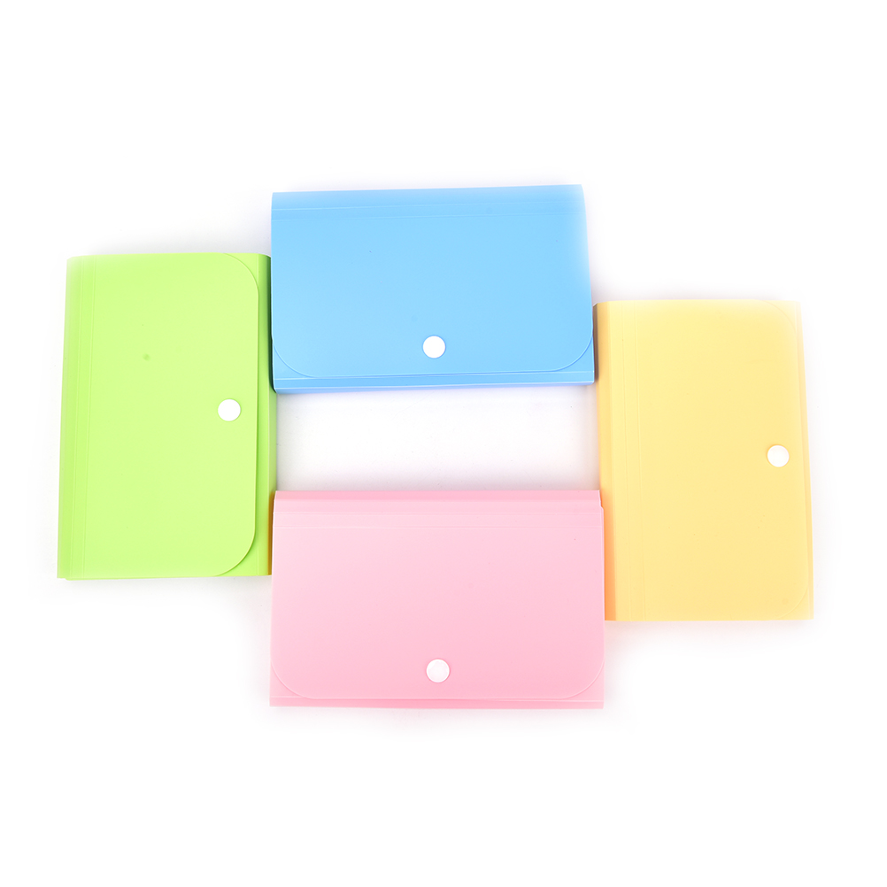 New 1pc Small Size 104*78*35mm Plastic Candy Color Document Bag File Folder Expanding Wallet Bill Folder Office & School Supplies File Folder