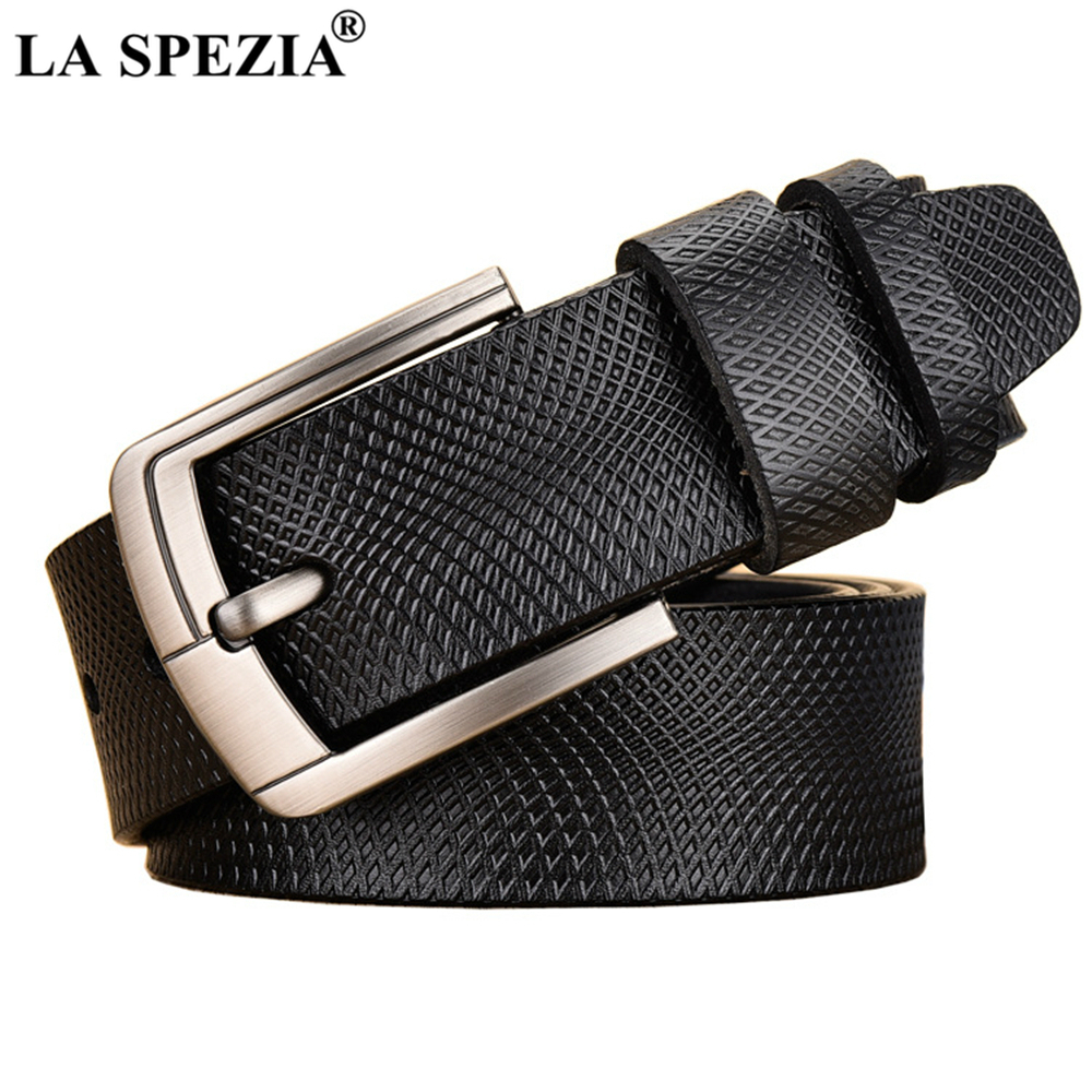 LA SPEZIA Genuine Leather Belt Male Pin Buckle Cow Real Leather Belt Men Black Brown Solid Brand Casual High Quality Men Belt in Men 39 s Belts from Apparel Accessories