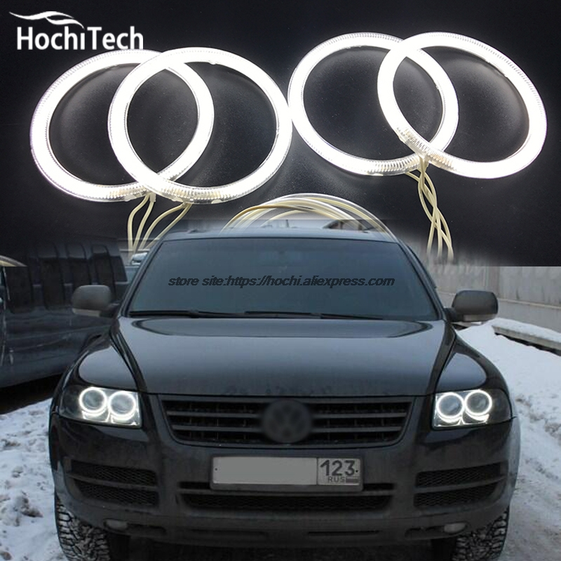 Комплект фар HochiTech ccfl angel eyes, белый, 6000 k, ccfl, halo, для Volkswagen VW Touareg 2003, 2004, 2005, 2006 image