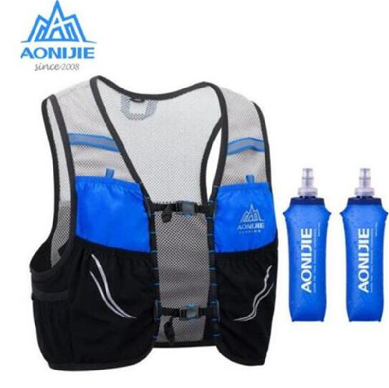 AONIJIE 2.5L Outdoor Lightweight Hydration Backpack Rucksack Bag Vest Hiking Camping Running Marathon 500ML Soft Flask