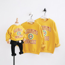 Mother and Daughter Clothes Family Look Outfits Hoodies Sweaters Kids Soft Cotton Fleece Sweaters Letter Pattern Family Clothing