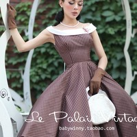 Women's spring autumn retro classic plaid dress hit color big swing retro dress bow Rockabilly vintage midi dresses 50s 60s