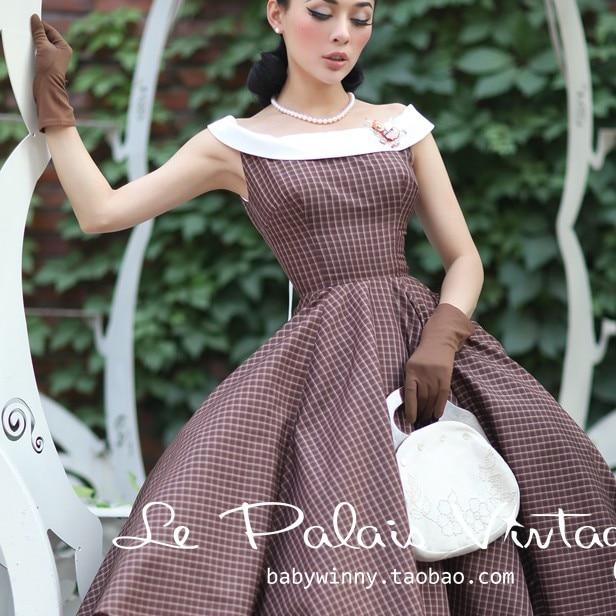 Womens spring autumn retro classic plaid dress hit color big swing retro dress bow Rockabilly vintage midi dresses 50s 60s