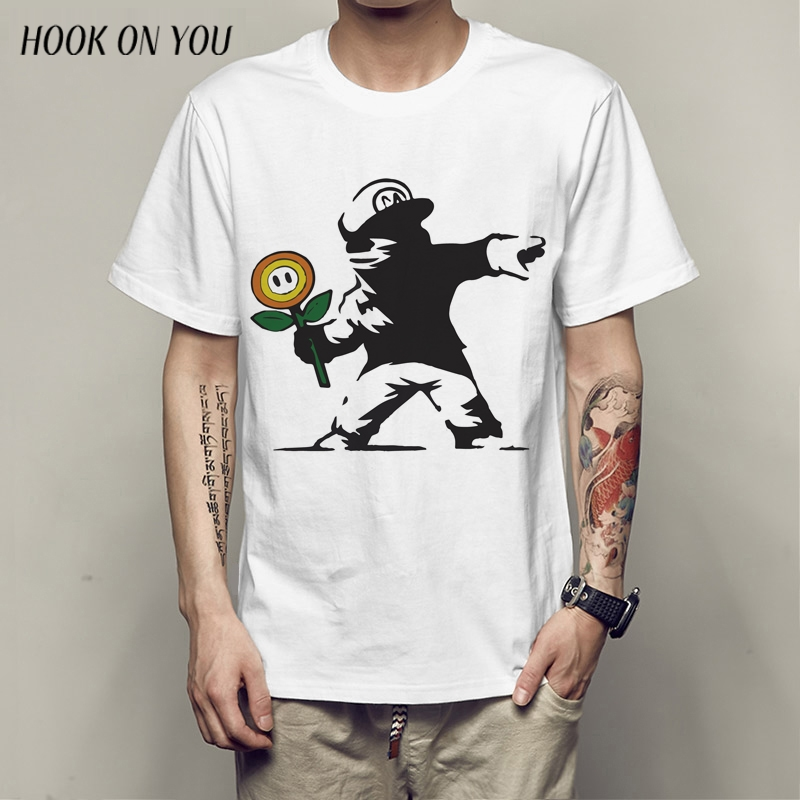 New Super Mario Men T Shirts Funny Design Digital Printing Casual Top Tees Short Sleeve Customized TEES