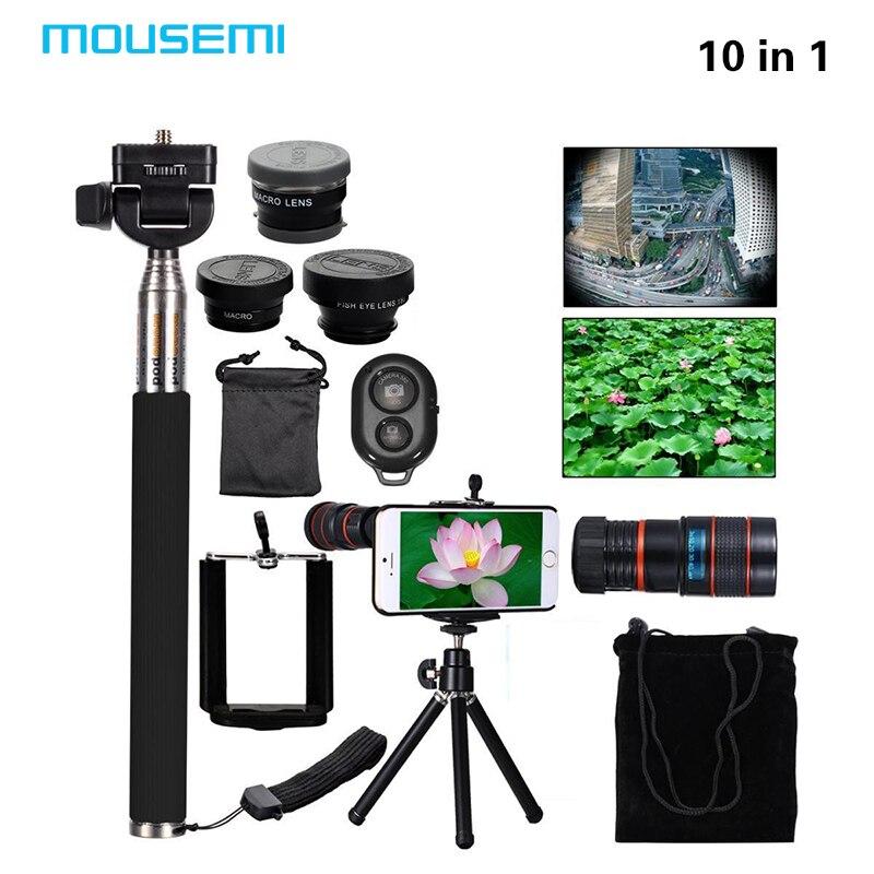 imágenes para 10in1 universal telescopio del zumbido 8x + selfie stick monopod + 3in1 clip lente ojo de pez gran angular macro móvil + mini trípode flexible de la lente