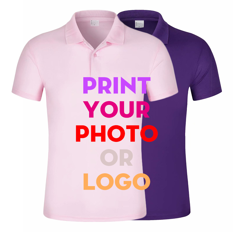 Men Short Sleeve Custom Printed Polo shirts Male Unisex Casual Couple Design Own Funny  Shirt Tops Tees Men's Cotton Clothes