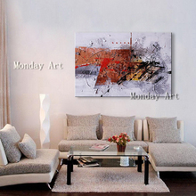 Pop art Hand Painted Abstract Oil Paintings Wall Art Canvas painting Red White Geometric Artwork wall picture For Living Room