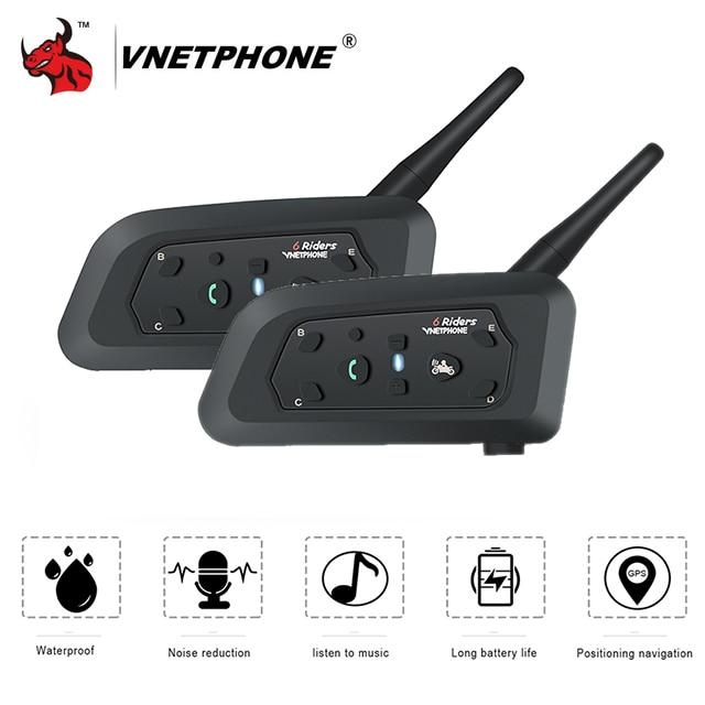 VNETPHONE 2 pcs Moto Interphone Casque Casque Casque Haut-Parleur Interphone Bluetooth Casque Sans Fil 1200 m Moto Accessoires
