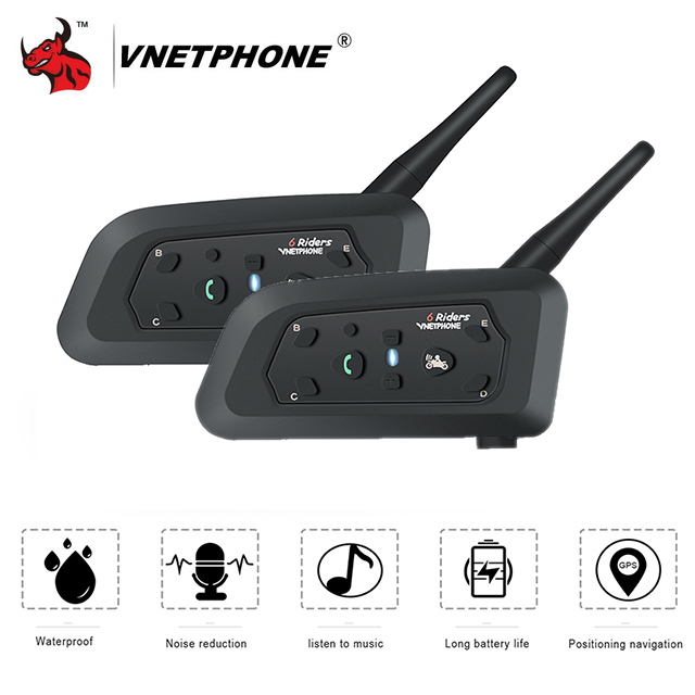 VNETPHONE 2PCS Motorcycle Intercom Helmet Headset Helmet Speaker Interphone Bluetooth Headset Wireless 1200m Moto Accessories цены