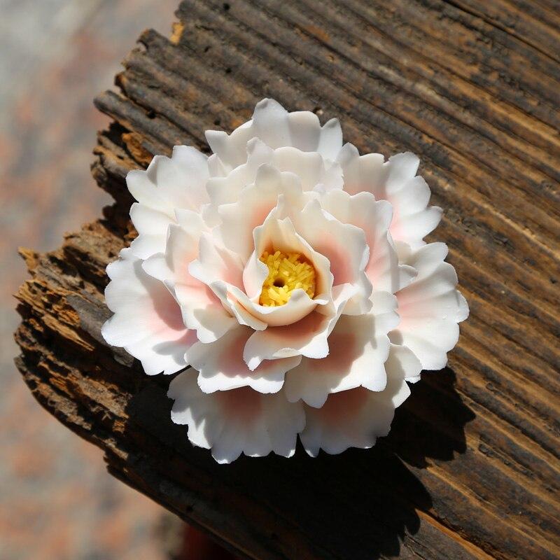Chinois fait à la main en céramique lotus pivoine décoratif fleur ornements créatifs porcelaine encens décorations accessoires artisanat