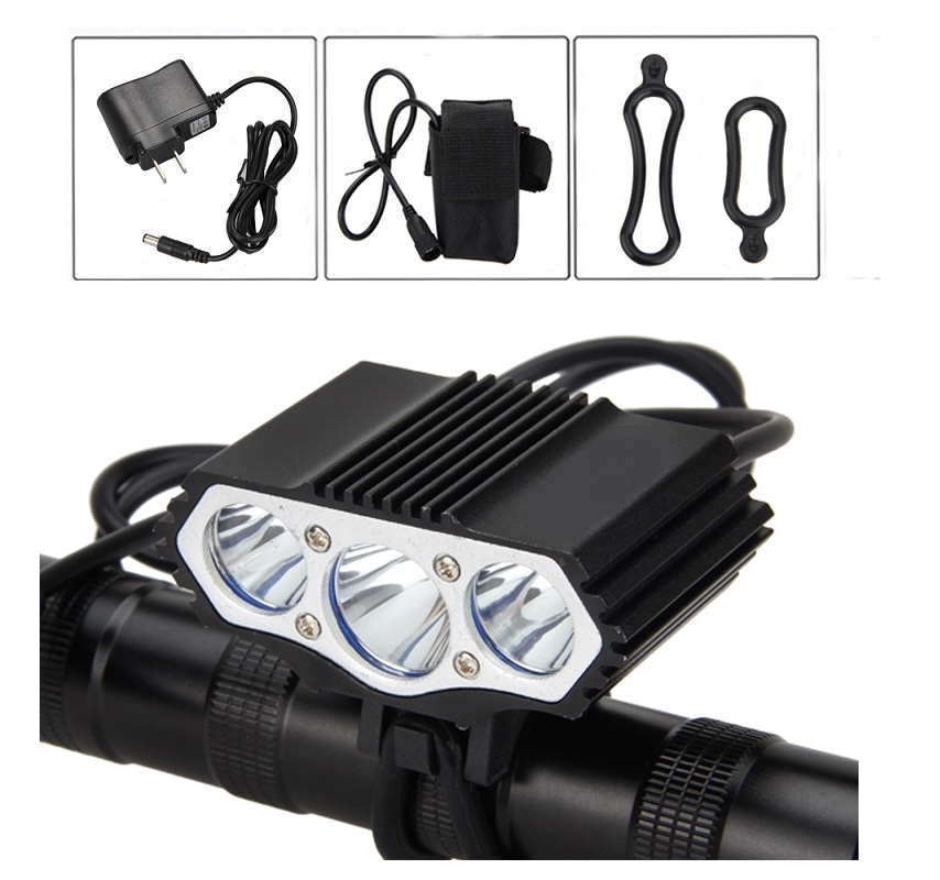 Bicycle Headlight 12000LM 3*XM-L T6 LED front Bike Lamp Headlamp Light Bicycle Acessory +4*18650 Battery +Charger 18000 lumens bike headlamp flashlight 9x cree xm l2 led bicycle light cycling helmet headlight 18650 battery pack charger