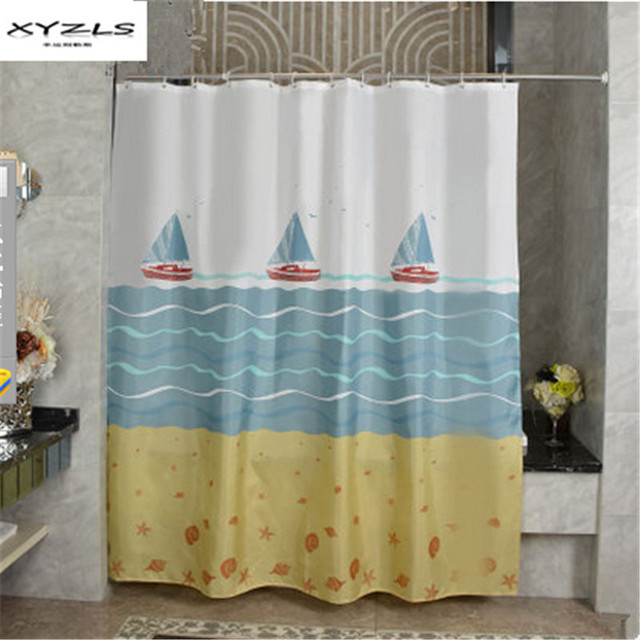 XYZLS 2017 Modern Polyester Bath Curtains Sail Boat Printed Waterproof Shower Curtain Bathroom Products Cortina Ducha
