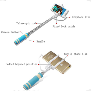 Image 3 - Wholesale mini Wired Selfie Stick Handheld Monopod Built in Shutter Extendable + Mount Holder For iPhone Samsung Phones Camera