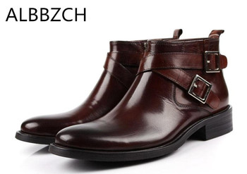 Mens real cow leather ankle boots men fashion buckle design round toe zip office work boots man high quality dress boots shoes