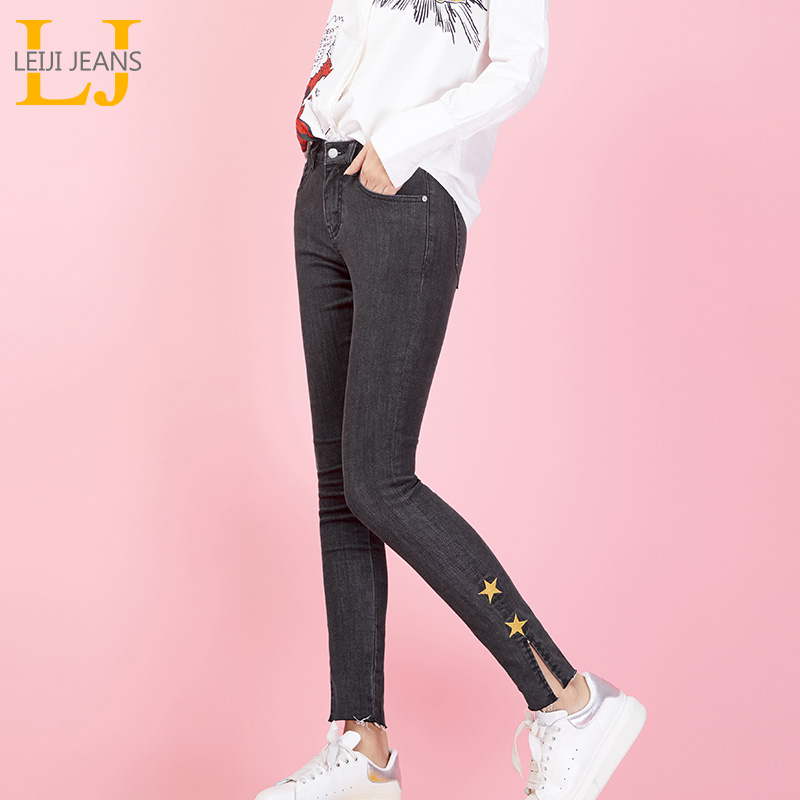 LEIJIJEANS Spring new pants waist shot in the waist Slim casual plus size women 9 points feet   jeans   Five-star gray   jeans   9012