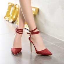 Big Size 11 12 13 14 15 16 17 high heels sandals women shoes woman summer ladies  Package the heel Pointed Thick with sandals
