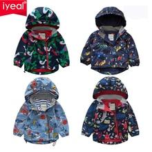 IYEAL Boys Thicken Fleece Hooded Jacket Warm Coat Children Outdoor Cute Cartoon Printed Kids Clothes for Winter Autumn Spring недорого