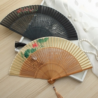 Hand Painted Openwork Craft Folding Fan Bamboo Decorative Chinese Hand Held Fan Engraved Ladies Silk Fans