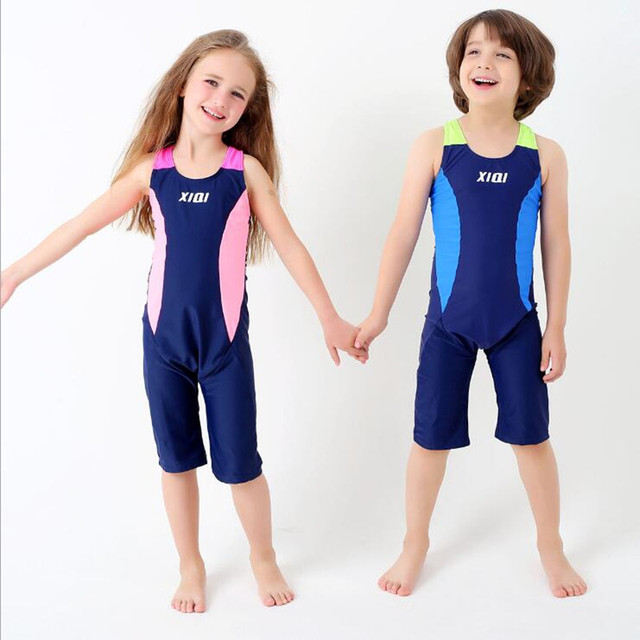 3c934b06b4 2017 New Boys Girls One Piece Swimwear Professional Bathing Suit Beach Wear  Summer Kids Students Patchwork
