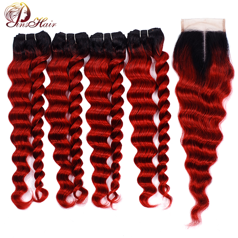 Pinshair Ombre Red Loose Wave Bundles With Closure Burgundy Brazilian Hair Weave 4 Bundles With Closure