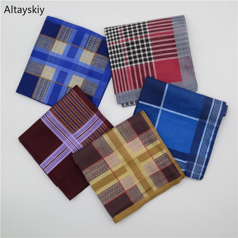 Handkerchiefs Women Retro Plaid Soft Cotton Elegant Simple Womens Wipe Sweat Square Towel Trendy Leisure New Ladies Handkerchief