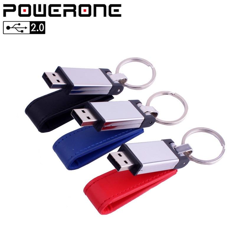 Useful Powerone Business Keychain Pendrive Leather Usb Flash Drive Usb 3.0 64gb 32gb 16gb 8g 4g Usb Flash Drives Computer & Office