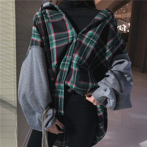 Image 2 - Hoodies Thicker Oversize Women Hooded Patchwork Chic Plaid Batwing Sleeve Korean Style Trendy Womens Casual Sweatshirts Students