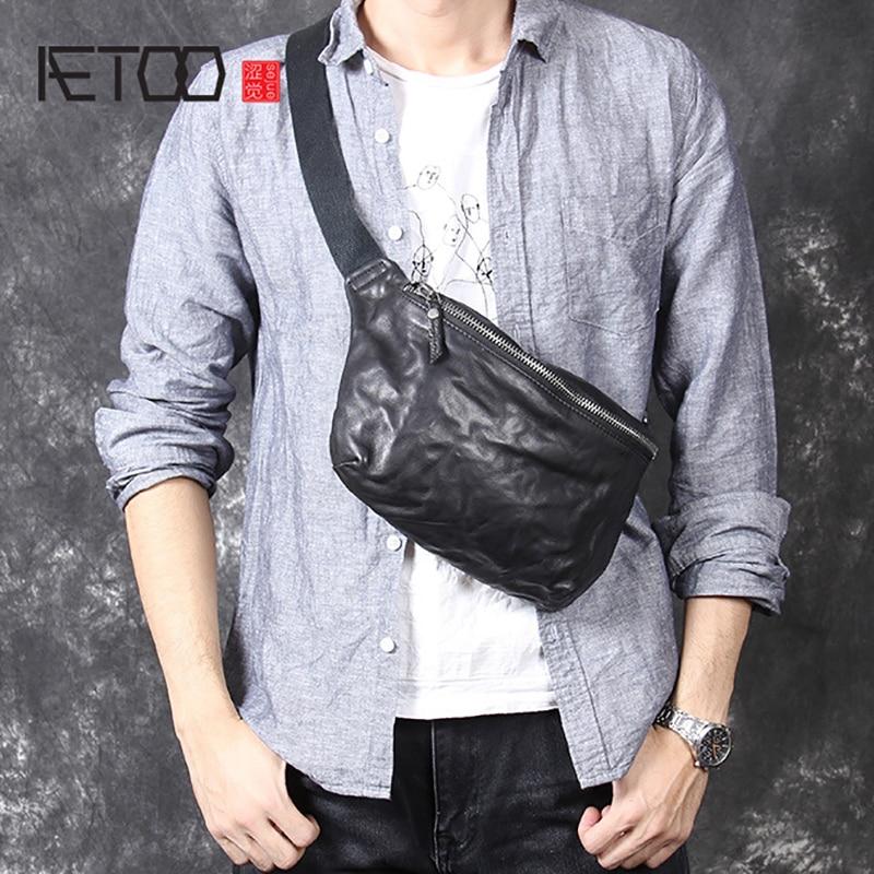 AETOO dorywczo retro szef skóra bydlęca osobowość torba w klatce piersiowej męska crossbody torba na ramię pasek skórzany w Saszetki od Bagaże i torby na  Grupa 1