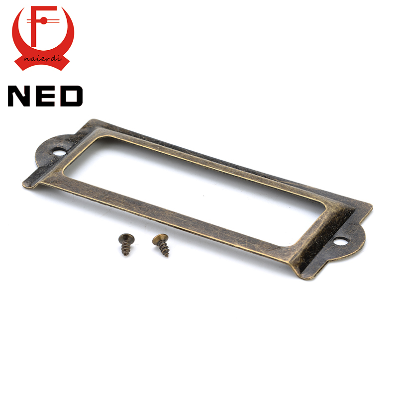 NED 82*30mm Handle Antique Brass Metal Label Pull Frame File Name Card Holder For Furniture Cabinet Drawer Box Case Hardware hamlet ned r